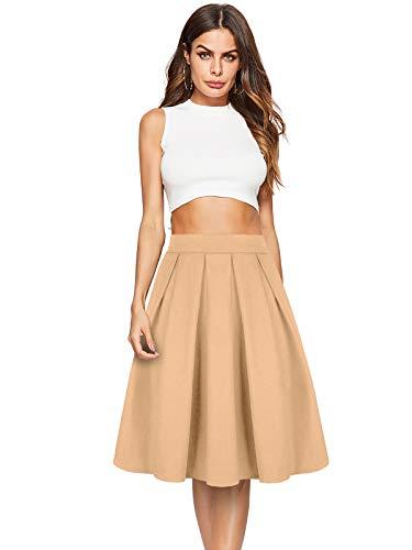 Beluring Womens Business Skirts for Women for Work Swing Skater Skirt Khaki Size (Business Casual Skirt)