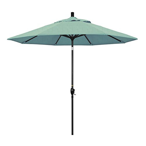 Umbrella Spa - California Umbrella 9' Round Aluminum Market Umbrella, Crank Lift, Push Button Tilt, Black Pole, Sunbrella Spa