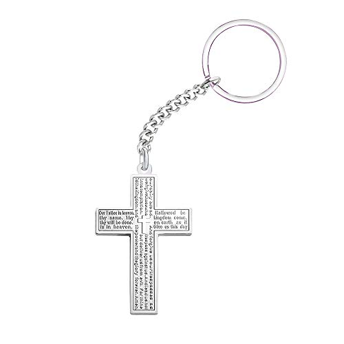 Paris Selection Stainless Steel Simple Cross Pendant Lord's Prayer Keychain -