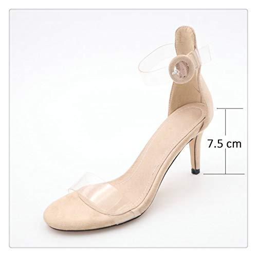 - ECOLAQ& 2019 Women Sandals Cover Heel Summer Shoes Buckle Thin High Heels Ankle Strap Party Elegant Sandals Women Shoes 34-43 Beige 7.5 cm 6