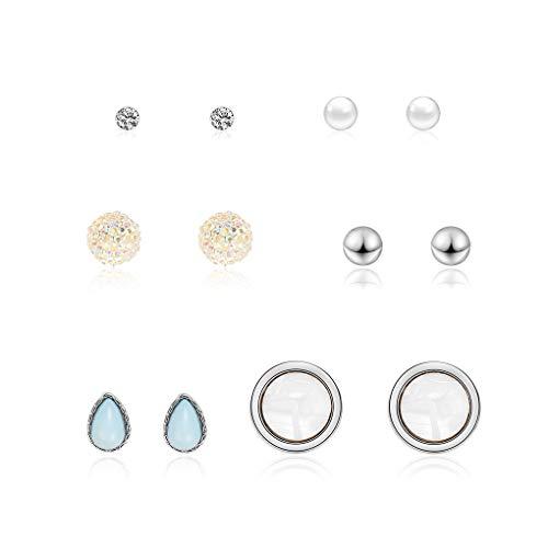 - 4 Pairs Women Crystal Resin Small Stud Earrings Sets Girls Round Waterdrop Earrings Jewelry