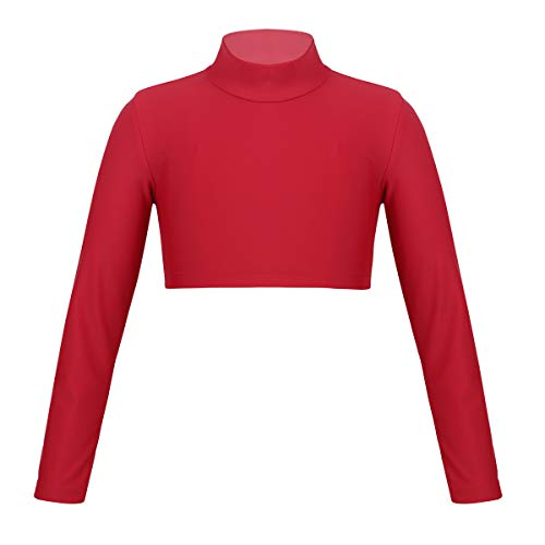 TiaoBug Kids Girls Solid Color Long Sleeve Cheerleading Turtleneck Crop Top for Dancing Stage Performance Workout Red 12