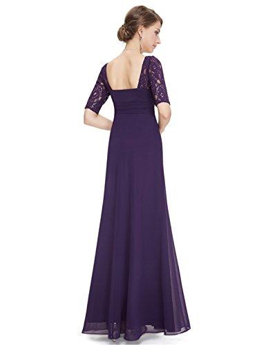Party Abendkleid Dunkelviolett Elegant Halbarm Lang Pretty 08038 Damen Ever fzq4w4