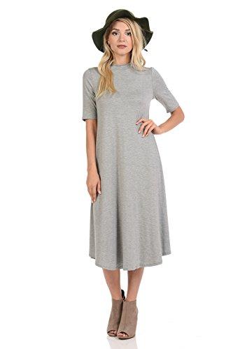 iconic luxe Women's Mock Neck Trapeze Midi Dress X-Large Heather - Sleeve Dress Mock