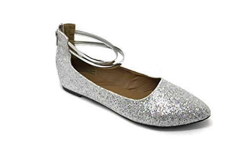 Sparkle Glittery - Susan 18 Shimmer Double Strap Dress Shoes for Women, Strappy Flats Silver