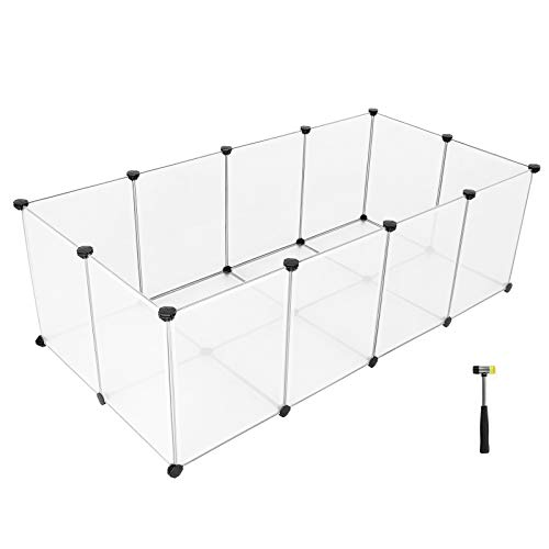 SONGMICS Pet Playpen,Fence Cage with Bottom for Small Animals Guinea Pigs, Hamsters, Bunnies,Rabbits, Pet Exercise Run and Crate, Transparent Plastic Panels, ULPC02W by SONGMICS (Image #7)