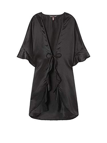 xy Black Slip Wrap Kimono Robe One Size ()