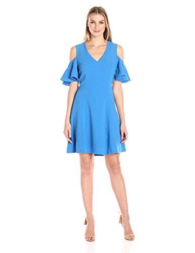 Amazon Brand - Lark & Ro Women's Short Sleeve Cold Shoulder A-Line Dress, Blue Lake, Large