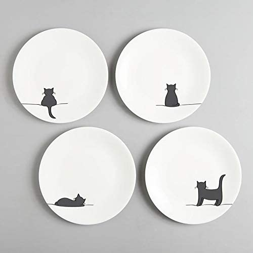 JIN Designs Fine Bone China gato placas laterales, juego de cuatro – 8 Inch – regalo para gatos.: Amazon.es: Hogar