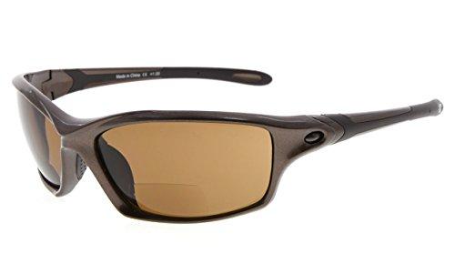 Eyekepper TR90 Frame Bifocal Sports Sunglasses Baseball Running Fishing Driving Golf Softball Hiking Readers (Pearly Brown, - Glasses Bifocal Driving