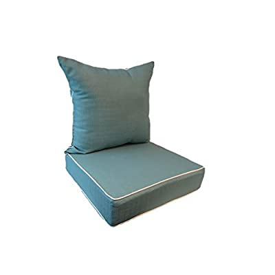 Suntastic Indoor/Outdoor Aqua Textured Deep Seating Lounge Chair and Back Cushion Set for Patio Furniture: Home & Kitchen
