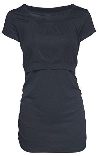 Happy Mama. Mujer Top Camiseta Premamá Lactancia Cuello Redondo Doble Capa. 136p Negro