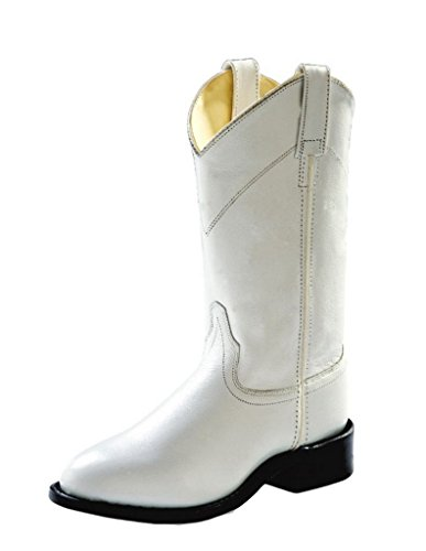 Old West Women's Leather Roper Boot White 6 M US (Old West Outfit)