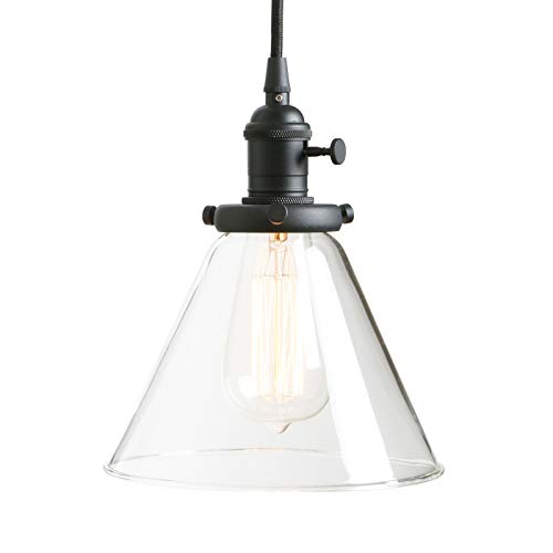 PERMO Industrial Vintage Pendant Light with Funnel Flared Glass Clear Glass Shade 1-Light Ceiling Fixture Black