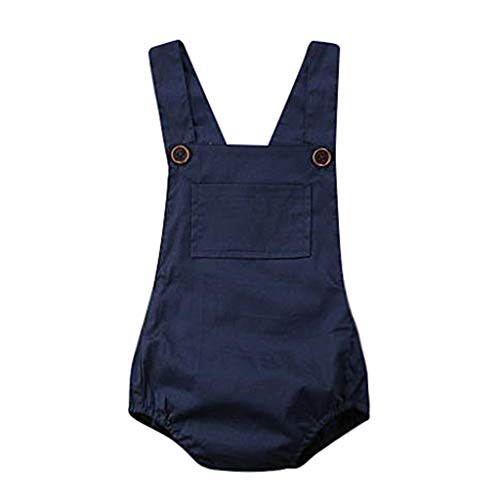 Baby Romper,Waymine Infant Boy Girl Sleeveless Solid Color Strap Summer Bodysuit Dark Blue (Infant Baby Fleece Bubble Romper)