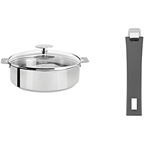 Cristel Mutine S24QKP Saute Pan 3 5 Quart Silver With Cristel Mutine Pmag Handle Long Grey