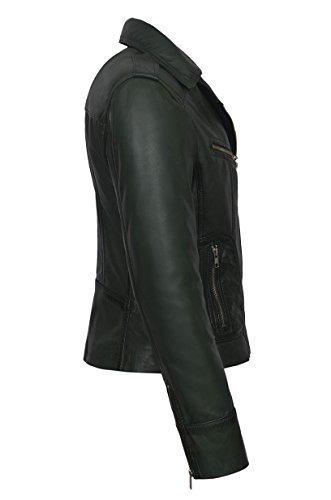 Mujer Entallada Color Chaqueta Smart Piel Range Verde Oscuro Muy De Suave Rider9823 Cuero t476Yqw