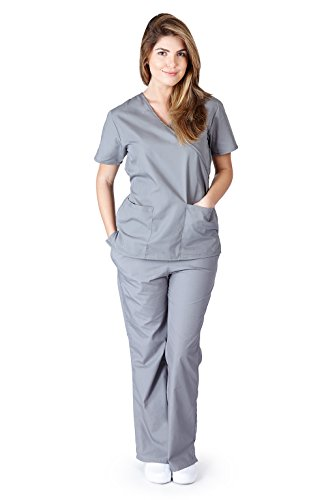 Nursing Uniform (Natural Uniforms Women's Mock Wrap Scrub Set (Grey))