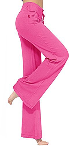 Women's Long Modal Comfy Drawstring Trousers Loose Straight-Leg for Yoga Running Sporting (XL, Rose red)
