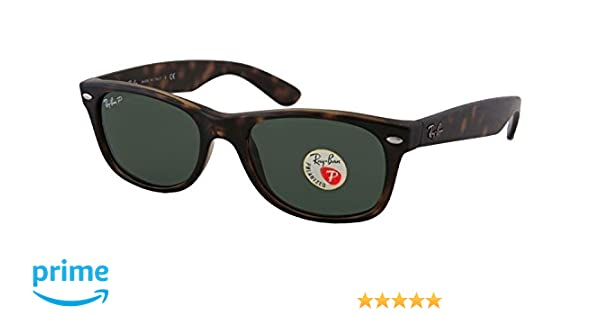 37e6a0614e Amazon.com  Ray-Ban RB2132 New Wayfarer Sunglasses Unisex (Tortoise Frame  Polarized Solid Black Lens