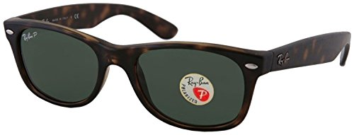 Ray-Ban RB2132 New Wayfarer Sunglasses Unisex 100% Authentic (Tortoise Frame Polarized Solid Lens, 55) Authentic Ray Ban Sunglasses