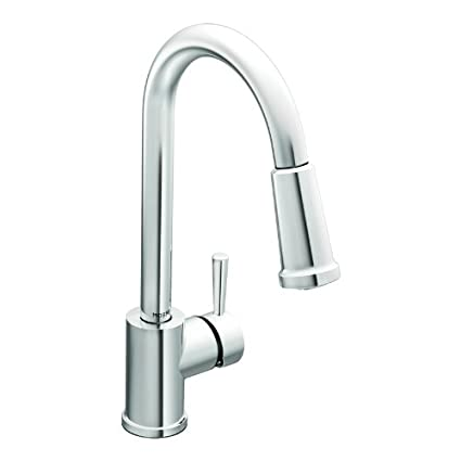 Moen 7175 Level One-Handle High Arc Pullout Kitchen Faucet, Chrome ...