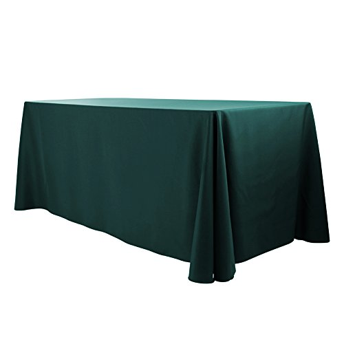 E-TEX 90x132-Inch Polyester Oblong Tablecloth Fit for Rectangular Table Hunter Green - Rectangular Green
