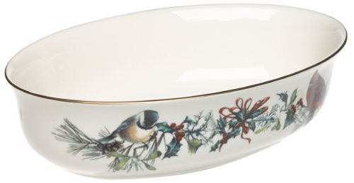 Lenox Winter Greetings Open Vegetable - Bowl Holiday Vegetable