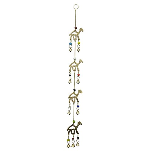 Brass Gold Tone Camel Hanging Door Bell Indian Decorative Home Wall Art Decor ()