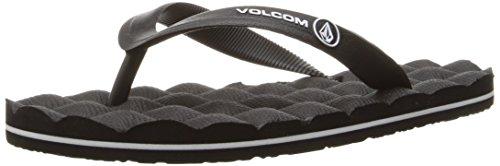 Volcom Boys' Recliner Rubber Youth Sandal Flip Flop, Black, 4 M US Big Kid