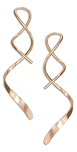 14 Karat Rose Gold Filled 1.5 inch Spiral Streamer Curly Wire Earrings (Gold Filled Earrings Spiral)