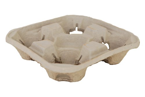 Southern Champion Tray 0117 ChampWare Molded Fiber 4 Cup Drink Carrier, Hold 8 to 32 oz Cup (Case of 300) Carry Out Tray 4 Cup