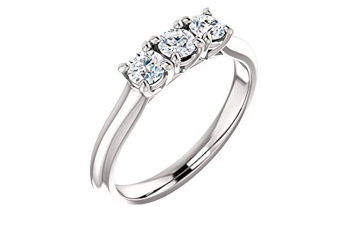 (Jewels By Lux Diamond Platinum 3.4mm Round Three-Stone Anniversary Wedding Ring Band Mounting)