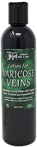 Lotion for Varicose Veins | Natural Removal Cream | Helps Reduce, Erase, Pain Relief Formula | Essential Oils, Organic, Vegan, 8oz