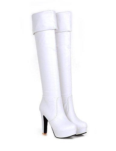 Eu36 Uk5 Oficina Xzz 5 Trabajo Casual Robusto Cuero Vestido Tacón Redonda Eu38 Brown Mujer Cn38 5 White Y negro Botas Cn36 us6 Cerrada Uk4 Zapatos us7 Punta Sintético De qx1qAwF