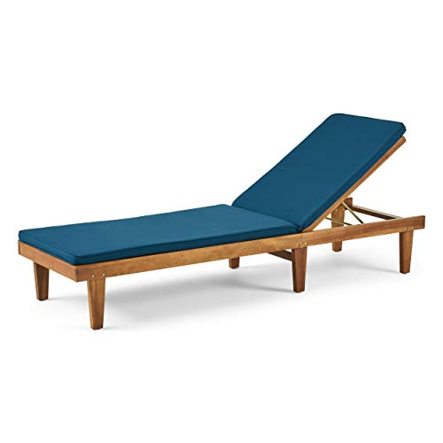 Great Deal Furniture Yvette Outdoor Acacia Wood Chaise Lounge and Cushion Set, Teak and Blue