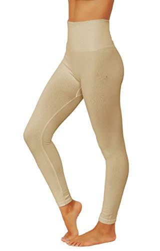 Fit Division Women`s Pants Buttery Soft Fleece Leggings High Waist Winter Thermal (L/XL (Plus Size) US 8-14, FD538-BEI)