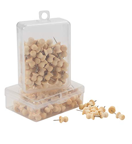 Push Pin - 200-Pack Wood Push Pins, Thumb Tacks, Map Pins, for Office School Bulletin Board, Cork Board, Message Board, Photo, DIY Art Craft Project, Fabric Making, 0.8 x 0.4 x 0.4 Inches