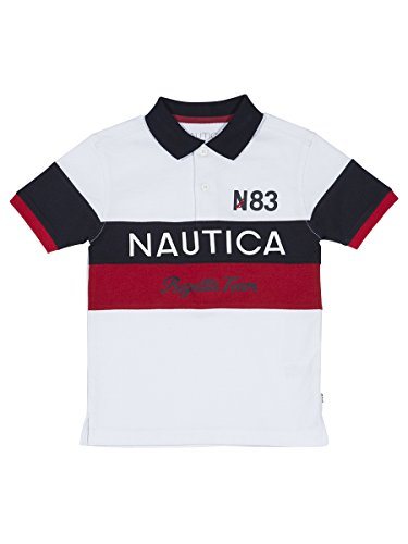 Nautica Big Boys' Short Sleeve Colorblock Deck Shirt,White,Medium (Nautica White Shirt)