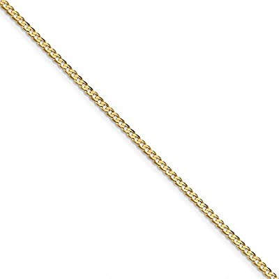 hot sell Black Bow Jewelry 14k Yellow Gold 2.3mm Solid Beveled Curb Chain Anklet, 9 Inch