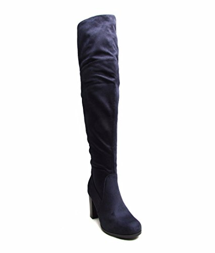 WOMENS LADIES OVER THE KNEE MID HEEL OPEN FASHION SUEDE BOOT UK SIZE 2JPew