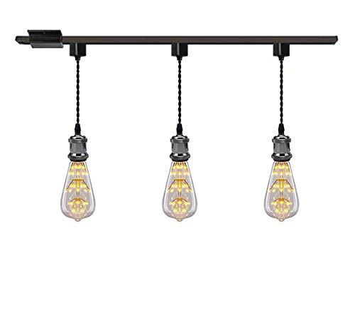 Kiven 1-Light H System Track Mini Pendant, Pearl Black Finish Lamp Holder Fitting Track Light Kit, Rose Pendant Braided Fabric Flex Cord Length 11.81 ()
