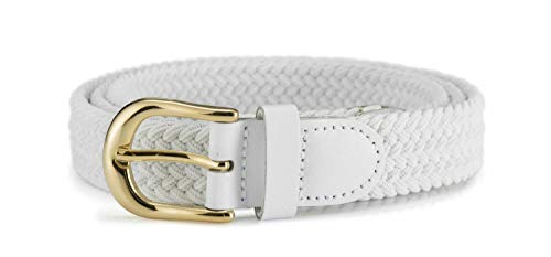 - Streeze Womens Elastic Stretch Belt 1 Inch Wide with Gold Buckle (White, X Small)