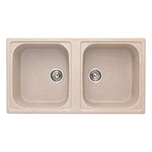 ZINZER Double Bowl Kitchen Sink, Ivory, Matte Finish
