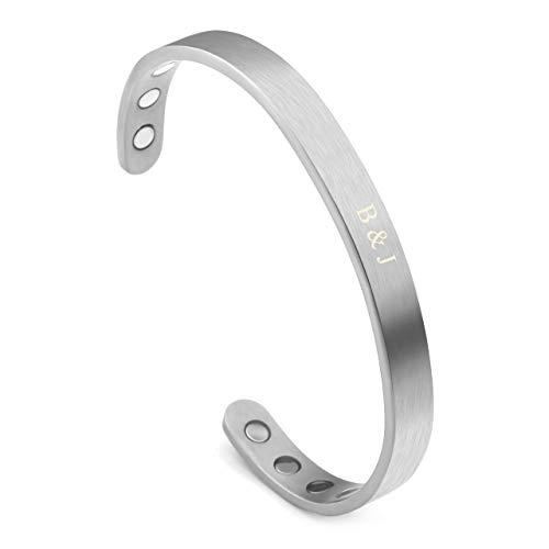 (Jovivi Personalized Custom Titanium Magnetic Matte Plain Cuff Bangle Bracelets for Men Women Therapy, 8mm,Gold Plated/Black/Silver/Rose Gold)