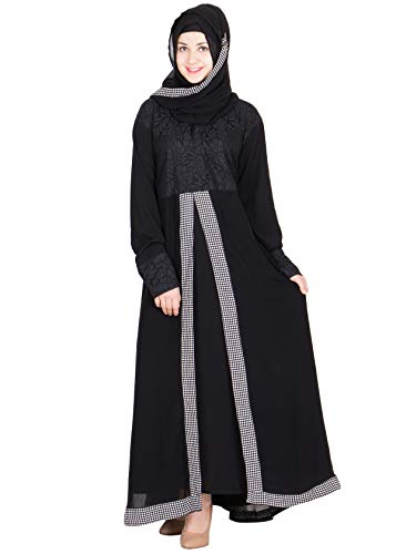 SNC-Black colored half front open Georgette Abaya