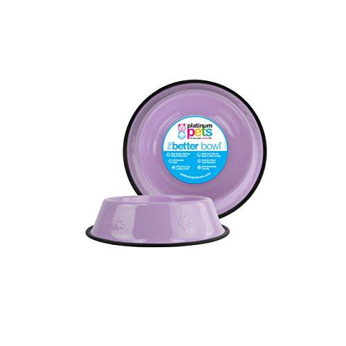 Platinum Pets Platinum Pets 2-Cup Embossed Non-Tip Dog Bowl, Sweet Lilac