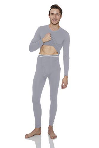 Duofold Cotton Long Underwear - Rocky Men's 2pc Thermal Underwear, Top & Bottom Fleece Lined Long Johns (XLarge, Grey)