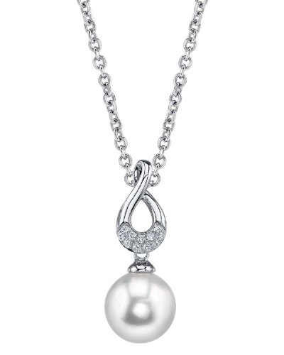 THE PEARL SOURCE 14K Gold 10-11mm Round White Freshwater Cultured Pearl & Diamond Noa Pendant Necklace for Women