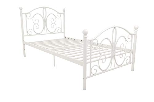 DHP Vintage Design Bombay Bed Frame with Metal Slats, Twin, White Bedroom Vintage Sleigh Bed